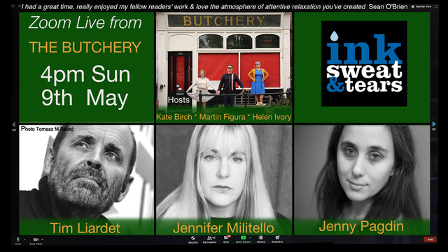 Zoom Live From the Butchery Reading with Tim Liardet, Jennifer Militello and Jenny Pagdin